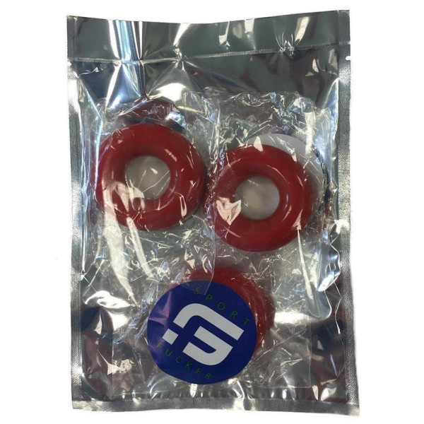 Sport Fucker Chubby Rubber 3-pc Cockring-Set Red