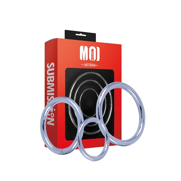 MOI - Mr. Threesome | Chromed Cock Ring 3 Set - Ø 40-45-50 mm