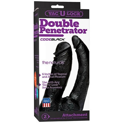 Vac-U-Lock - CodeBlack - 6 Inch Double Penetrator - The Naturals
