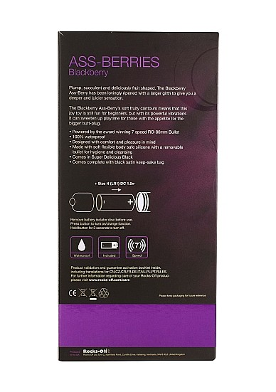 Rocks Off - 7 Speed Assberries Blackberry Analplug - schwarz